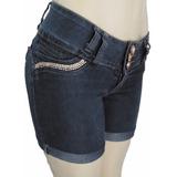 Shorts Jeans Com Aplique De Pedrarias Brilhantes Novo