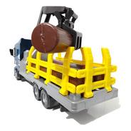 Brinquedo Caminhão Tora De Madeira Com Guindaste Articulado