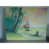 Quadro Decorativo Pintado À Mão Motivo Praia