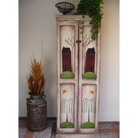 ropero de madera estilo vintage pintado a mano