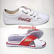 Tênis Feminino Casual Coca Cola + Sandália De Brinde