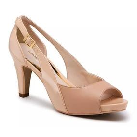 Zapato Dama Beige Andrea 2412504 Tacón Bajo 8cm Boca Pescado