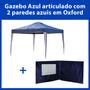 Gazebo Tenda Azul 3x3 + 2 Paredes Azuis Oxford Frete Grátis