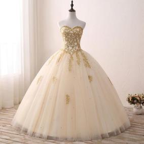 Vestido De Debutante Dourado 34 36 38 40 42 44 46 48 Vs00242