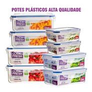 Kit 8 Potes Plásticos 100% Herméticos Qualidade Click Fresh