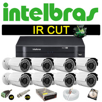 Kit Dvr Stand Alone Intelbras 8 Canais 8 Câmeras Ircut 1500l