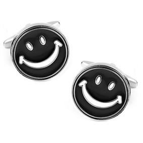 Mancuernillas Cara Sonriente Carita Feliz Plateado Con Negro