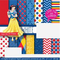 Kit Digital Papel Scrapbook - Princesa Branca Neve