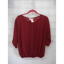 Hermosa Blusa Cerrada Roja De Bolitas Negras