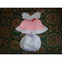 Vestido,conjunto Tejido Crochet Niña 0 - 3 Meses