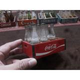 Antiguo Mini Cajon Madera Con Botellitas Coca Cola Vintage