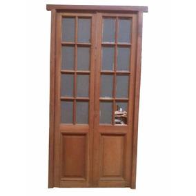 Puerta Antigua De Cedro Con Vidrio Repartido Dos Hojas