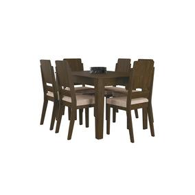 Conjunto De Mesa Sala Jantar Rv Turquesa 6 Cadeiras Imbúia