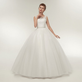 Vestido De Noiva Longo Sem Manga Princesa Rodado