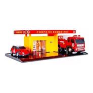 Brinquedo Mini Posto De Bombeiro E Garagem Carrinho Poliplac
