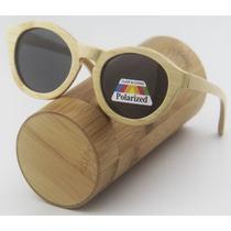 Lentes Gafas De Sol Polarizado De Madera Bambú Con Estuche