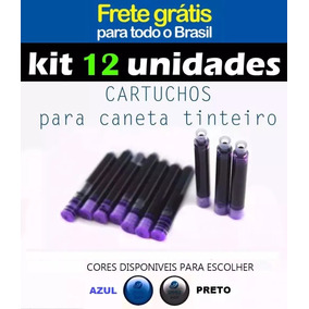 Kit 12 Cartuchos De Tinta Carga Caneta Tinteiro Frete Grátis