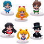 Set Completo Sailor Moon Chibi X 6 Figuras Con Base