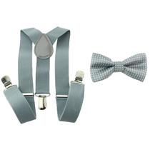 Kit Suspensório+gravata Borboleta Cinza Claro Infantil