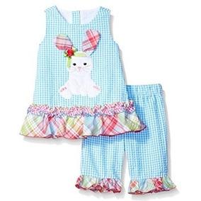 Conjunto 2 Piezas Vestido + Pantalón Celest Bebe Nena Verano