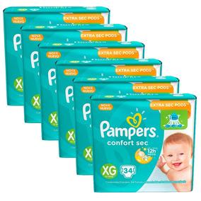 6 Pacotes De Fralda Pampers Confort Sec Xg - 204 Unidades