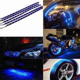 1 Fita Tira Led Azul Adesivo Tuning Carro Moto Flexivel 30cm