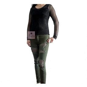 Jeans Mujer Elasticados Rasgados Con Tachas Tiro Alto