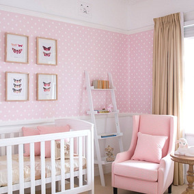 Papel De Parede Rosa Adesivo Vinil Infantil Bebê Menina Poá