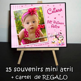 Cumple Minnie Bebé 15 Souvenirs Mini Atril + Cartel 1er Año