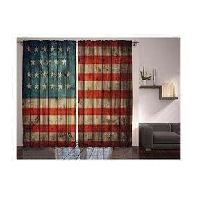 Americanos Rústico Usa Flag Cortinas Ambesonne, Cuarto De Ju