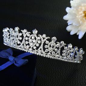 Coroa Tiara Porta Coque Prata Noiva Strass Debutante