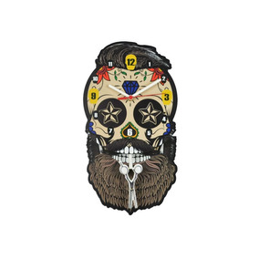 Relógio Parede De Pêndulo - Caveira Mexicana Barbearia Retrô