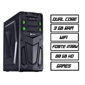 Pc Gamer Computador Dual Core 80gb Hd + 3gb + Wifi