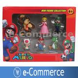 Set De 6 Muñecos Figura Mario Bros En Caja Coleccion Accion
