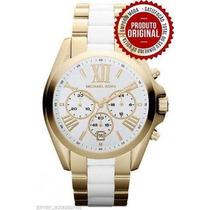 Relógio Michael Kors Mk5743 Gold Branco 44mm Oversized Novo
