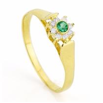 Anel Formatura Medicina Esmeralda Verde Feminino Ouro 18k