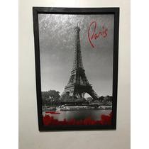 Cuadro Decorativo Paris Torre Eiffel Texto Blanco Y Negro