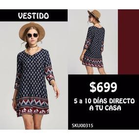 *fashionstore* Vestido De Estilo Hippie Azul Marino Sku00315