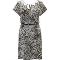 Vestido Feminino Estampado Animal Print Onça Com Decote Vaza