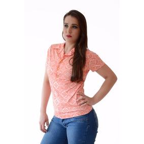 Camiseta Feminina Gola/botão Manga Curta