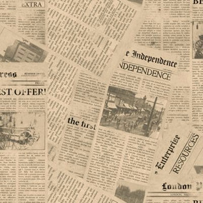 Empapelado simil diario revestimientos para paredes for Papel pintado imitacion periodico