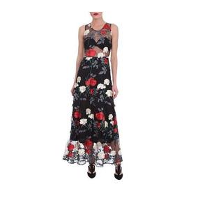 Vestido Negro Con Transparencia Y Flores Bordadas