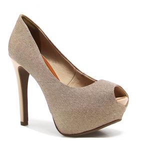 Sapato Bebecê Peep Toe Ouro / Nude (original + Nfe) | Betisa