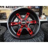 Juego De 4 Rines Xd Series Moto Metal Rojo Con Negro 20 Pdas