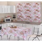 Kit Cozinha Com Cortina E Toalha De Mesa Para 6 Cadeiras