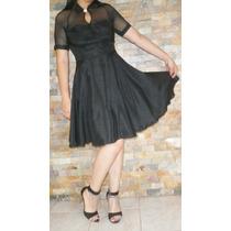 Vestido Negro Fiesta Noche Transparencia Talla M-l Exclusivo