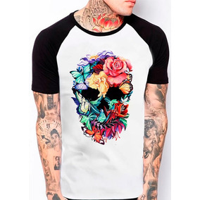 Camiseta Raglan Caveira Mexicana Flores Borboleta 316