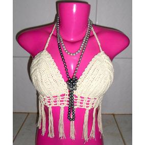 Top Cropped Crochê Com Franja Feminino