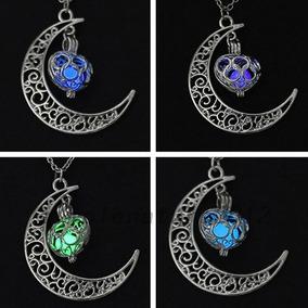Collar Luna Corazón Brilla Oscuridad Elegante Mujer Mayoreo