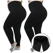 Kit 2 Calças Legging Plus Size Felpada Térmica Para Frio